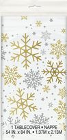 Silver & Gold Holiday Snowflakes Plastic Table Cover